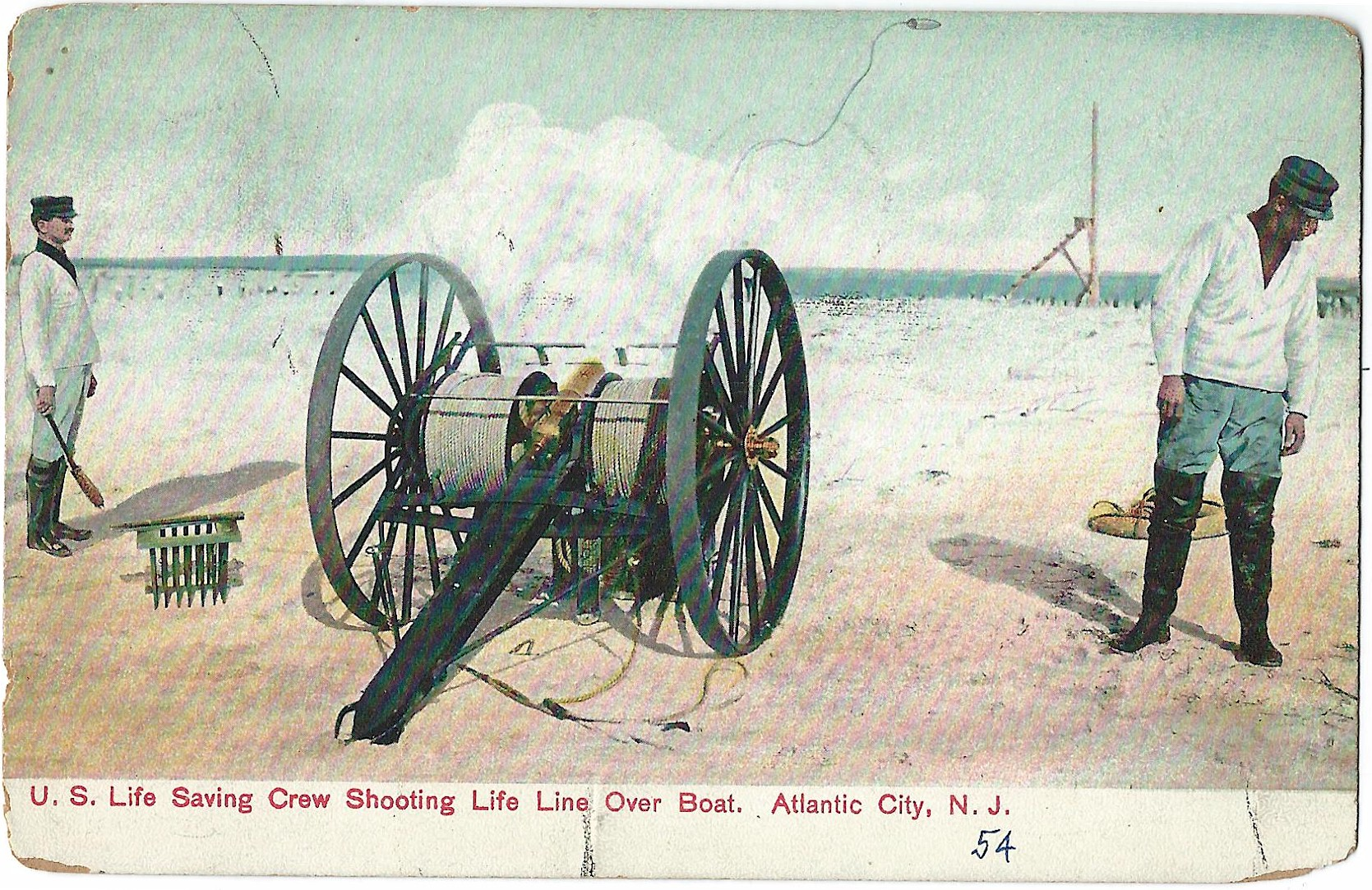 U S  Life Saving Crew Shooting Life Line Over Boat, Atlantic