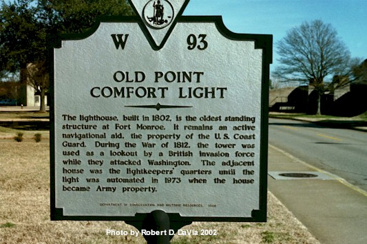 Sign at Old Point Comfort Light