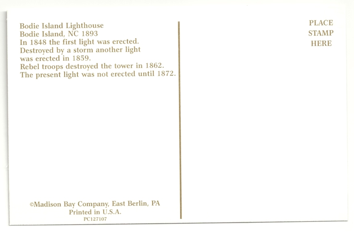 Bodie Island Lighthouse Postcard (NC) - Click Image to Close
