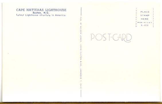 Cape Hatteras Lighthouse Postcard K-8150 (NC) - Click Image to Close